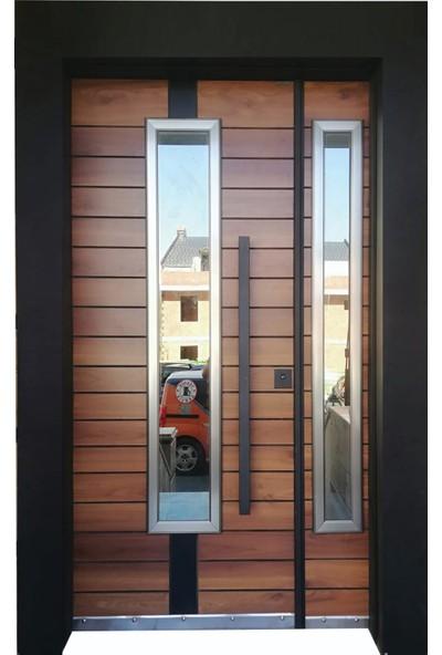 Tezdoor Villa Kapısı, Siyah Kasalı Alpi Desen Düz Model Apartman Giriş Kapısı , Çelik Kapı
