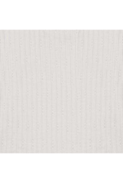Antebies Beyaz Jakarlı Ribana Kısa Kollu Body