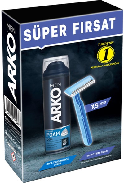 Arko Men Banyo 5'li + Cool Köpük Pro 200ML
