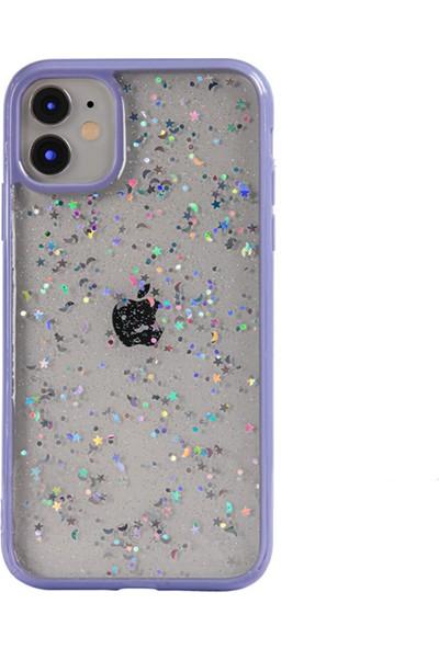 Moserini Apple iPhone 12 Mini Lav Silikon Lila Telefon Kılıfı Simli Arka Kapak