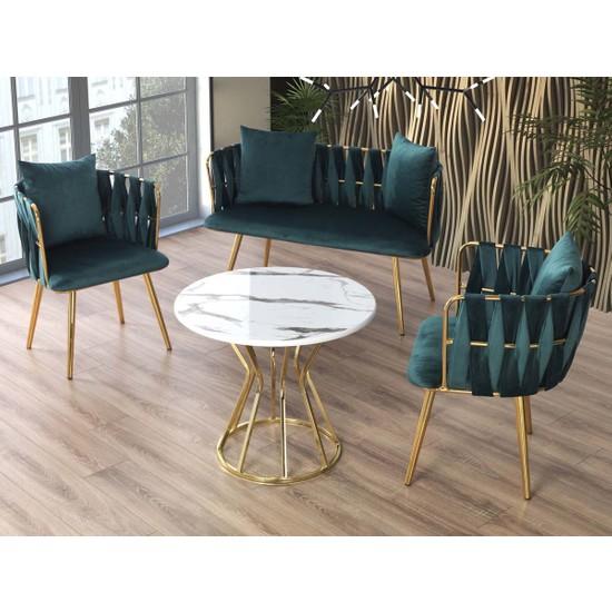 Emma Concept Çay Seti Oturma Takımı + Masa Metal Gold Petrol Mavisi Babyface Kumaş ( Ofis, Cafe, Bahçe, Bekleme )