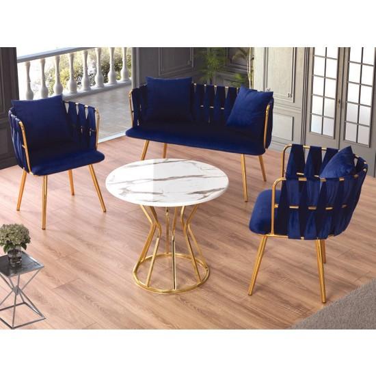 Emma Concept Çay Seti Oturma Takımı + Masa Metal Gold Lacivert Babyface Kumaş ( Ofis, Cafe, Bahçe, Bekleme )