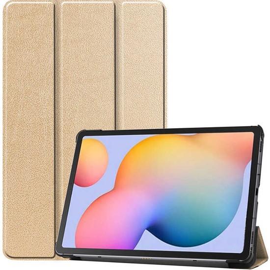 Canpay Samsung Galaxy T870 Uyumlu Kılıf (Tab S7) Ön-Arka Smart Case Katlanır Stand Gold