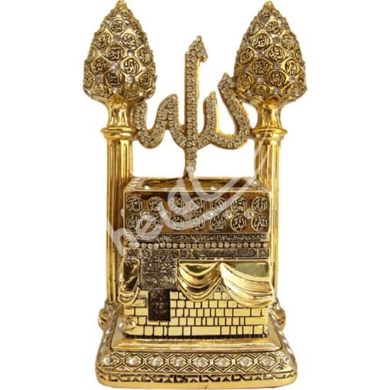 Pınarstore 19X20CM Kozalak Minareli Kabe - Allah cc ve Esmaül Hüsna Taşlı-Gold