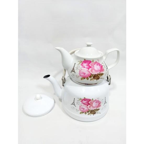 Emaye Çaydanlık Porselen Demlik Takımı Seti 4 Parça Çinko Çaydan Takım Pembe
