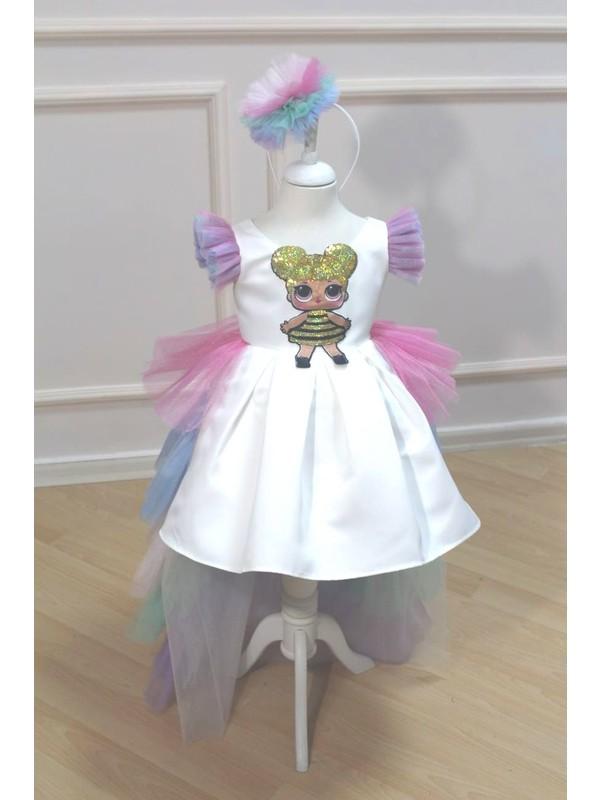 Astar Kostüm Çok Renkli Uzun Etekli Lol Çocuk Abiye Elbise Kostüm