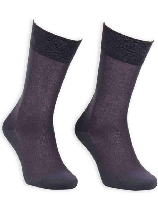 Bordo Cotton Dikişsiz Erkek Çorap SM31007-03   Füme