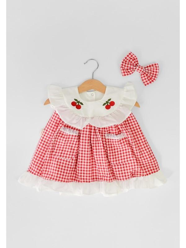 Mininaf Baby Kiraz Nakışlı Yakalı Pöti Kareli Kız Bebek Elbise
