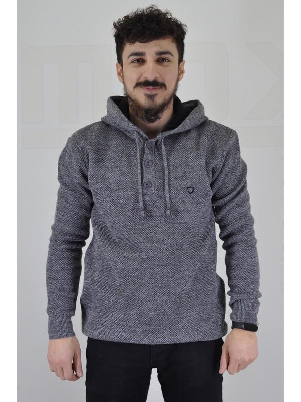 Çizgi Çizgi Kapüşonlu Slim Fit Erkek Kazak
