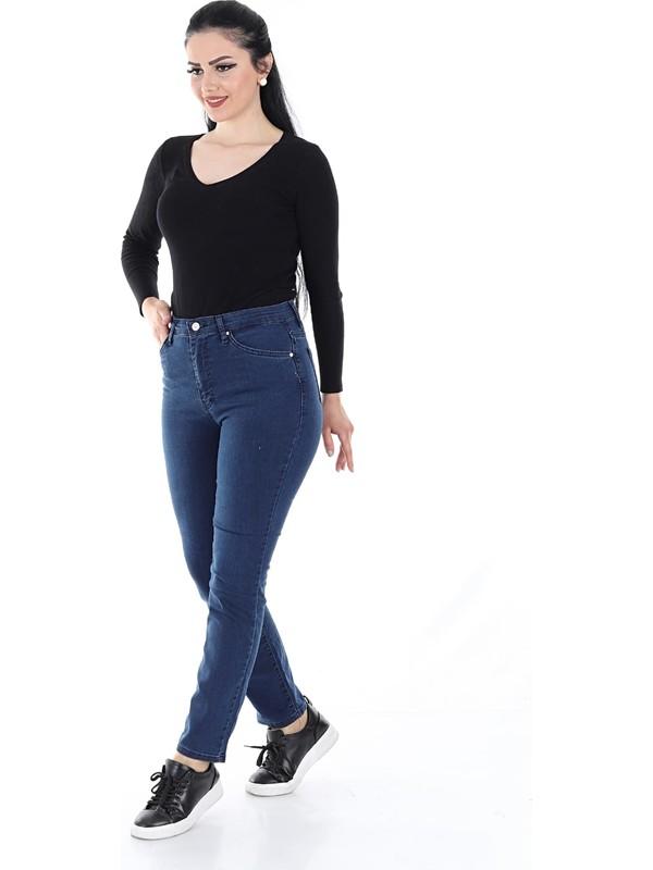 Aydınca Kadın Boru Paça Likralı Yumuşak Kumaş Yüksek Bel Kot Pantolon (Koyu Mavi)