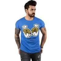 Deepsea Mavi Yazı Baskılı Erkek T-Shirt 2002031