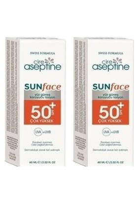 Cire Aseptine Sunface SPF50+ Yüksek Koruma Uva+Uvb Yüz Güneş Koruyucu Losyon 60 ml ( 2 Adet )