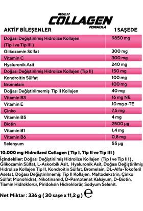 Sci-Tech Multi Collagen Formula Kolajen ve Vitamin Takviyesi 11,2 gr x 30 Saşe 3 Adet
