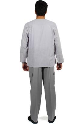 Kanaviçe Hac Umre Kıyafeti Sıfır Yaka Gömlek Kargo Cep Yarım Şalvar Gri E024