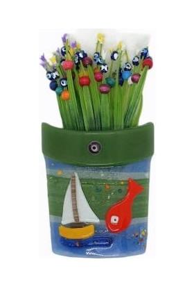 Uzman Nazar Boncuklu Balık ve Gemi Desenli Yeşil Cam Saksı Duvar Süsü