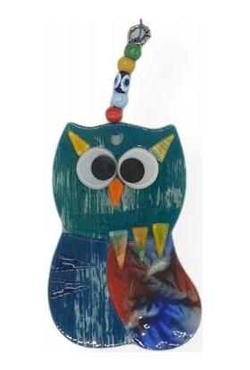 Uzman Renkli Şaşı Baykuş Figürlü Dekoratif Cam Duvar Süsü