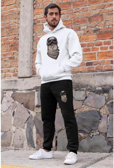 Angemiel Wear Yılana Saldıran Kartal Erkek Eşofman Takımı Beyaz Kapşonlu Sweatshirt Siyah Eşofman Altı