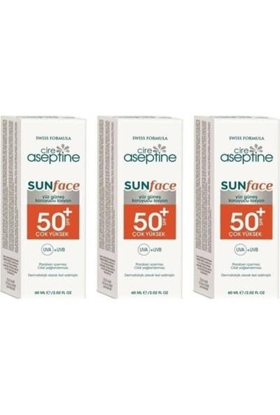 Cire Aseptine Sunface Spf 50+ Yüksek Koruma Uva+Uvb Yüz Güneş Koruyucu Losyon 60 ml (3 Adet )