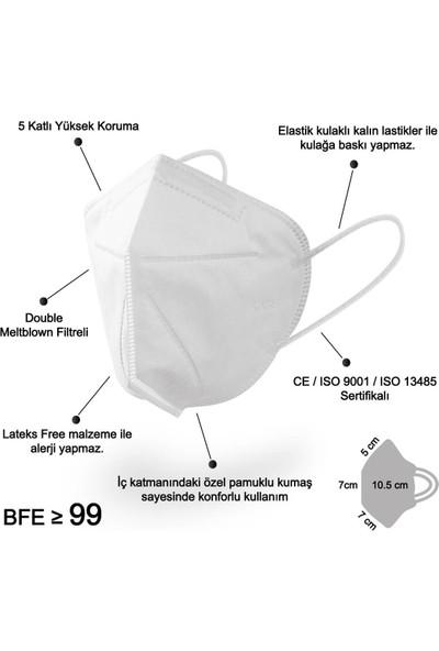 Mutlu Maske 5 Katlı Çift Meltblown Filtreli Beyaz N95 Maske - Tek Tek Ambalajlı 10 Adet