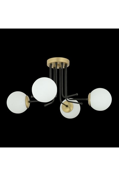 Trendylight Derin 4'lü Beyaz Cam Plafonyer Avize - Eskitme Siyah