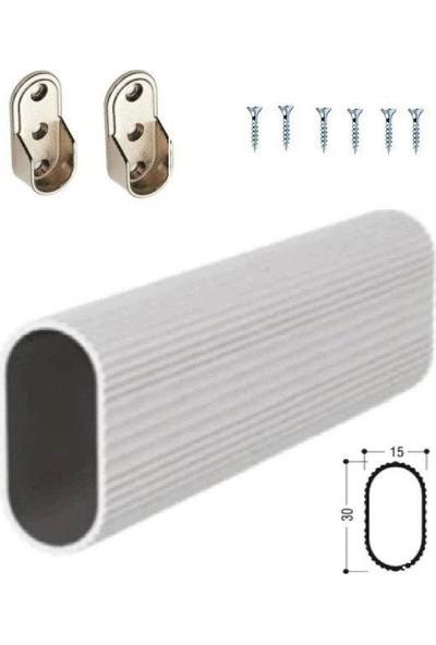 Arwino 120 cm Uzunluğunda U Tip Alm Boru Seti Dolap Içi Krom Kaplama Askı Borusu + 2 Adet Flanş + Vidaları