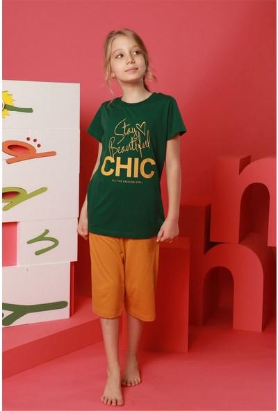 Hmd Kız Çocuk Garson Boy Yeşil Kısa Kollu Kapri Takım 8126