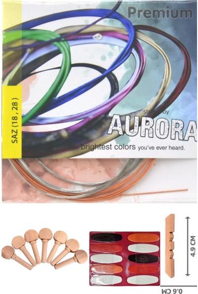 Aurora 0,18 Kısa Sap Profosyonel Bağlama Teli Takımı +10 Adet Tezene + 1 Adet Eşik + 7 Adet Burgu