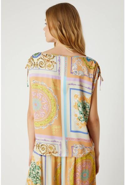 Fever Kadın Kolları Bağcıklı Desenli Bluz