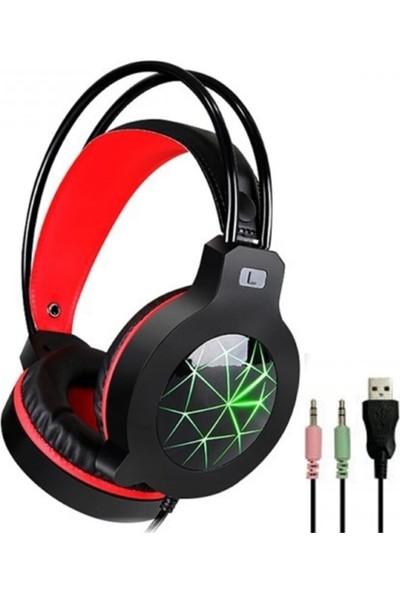 Blupple PL-2420 Oyuncu Gamer Kablolu Profesyonel Kulaküstü Rgb Işıklı Mikrofonlu Kulaklık Genç Çocuk Siyah Kırmızı 3.5mm Giriş