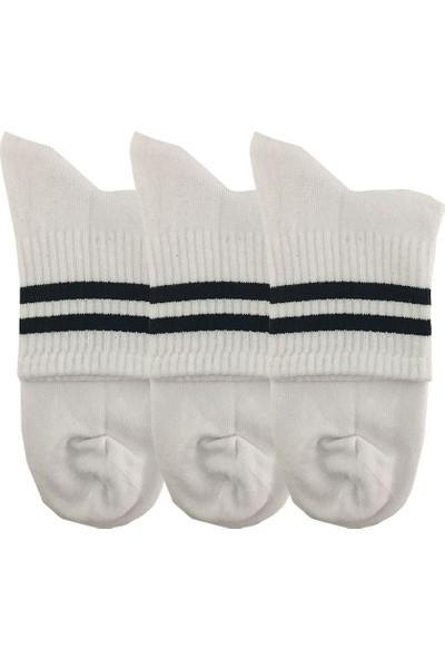 Darkzone Unisex 3'lü Siyah Çizgili Beyaz Kısa Tenis Çorapı