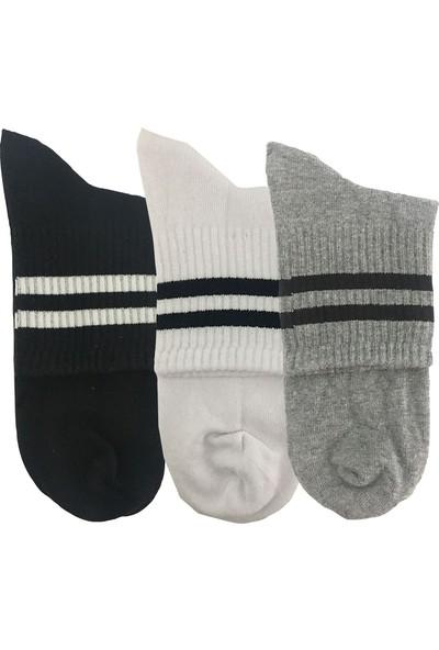 Darkzone Unisex 3'lü Siyah-Beyaz-Gri Kısa Tenis Çorapı