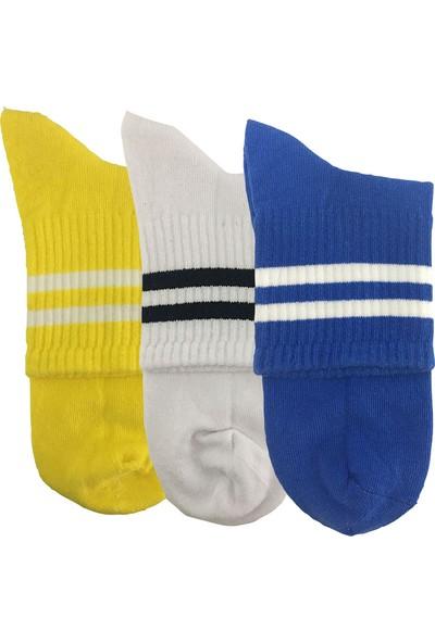 Darkzone Unisex 3'lü Sarı-Beyaz-Mavi Kısa Tenis Çorapı