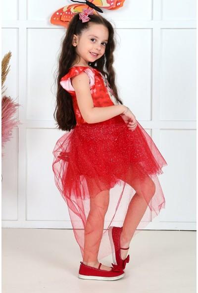 Baby Kız Çocuk Kuyruklu Tüllü Elbise Kırmızı 05703-