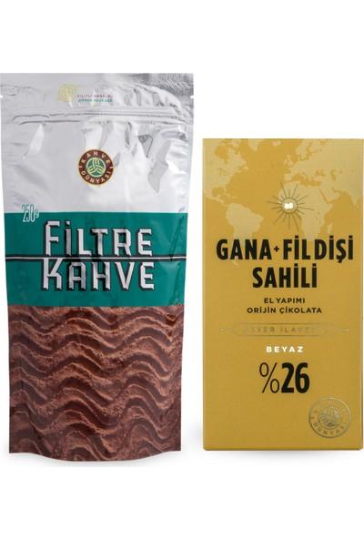 Kahve Dünyası Filtre Kahve 250 gr + Şeker Ilavesiz Gana Fildişi Beyaz Çikolata 100 gr