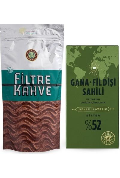 Kahve Dünyası 250 gr Filtre Kahve ve Şeker Ilavesiz Gana Fildişi Tablet Bitter Çikolata 100 gr