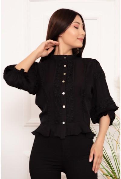 Kalopya Kadın Düğmeli Güpürlü 19885 Gömlek
