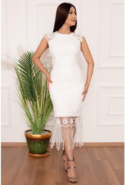 Kalopya Kadın Eteği Saçaklı Dantel 885 Elbise