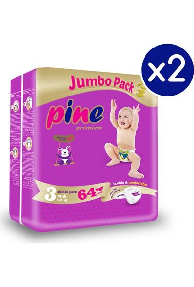 Pine Midi (4-9 Kg) 128 Adet Jumbo Dev Bebek Bezi