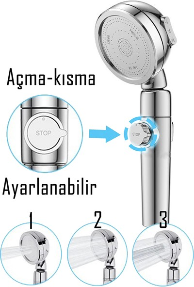 Kustar Su Seviyesi Ayarlanabilir Düğmeli Banyo Duş Başlığı Yeni Ürün