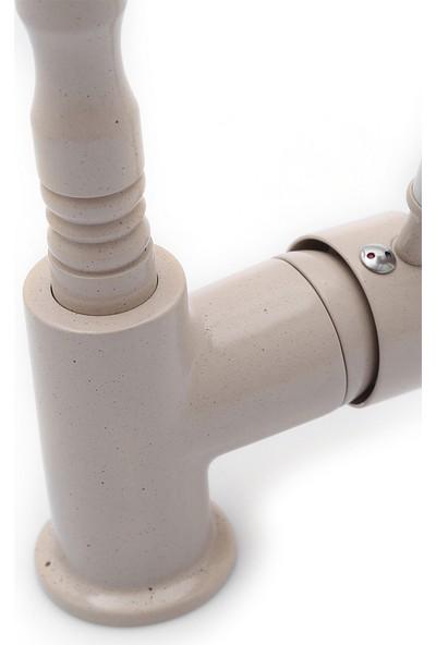 Kustar Granit Desenli Verona Mutfak Evye Bataryası Porselen Kollu