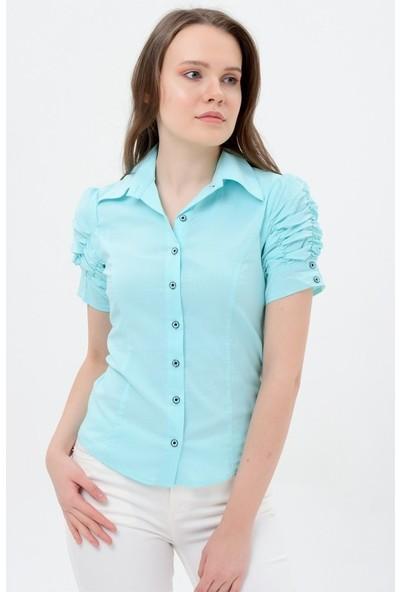 Sima Kadın Gömlek Turkuaz Model