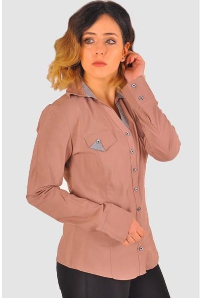 Sima Büyük Beden Kadın Gömlek Vizon Model