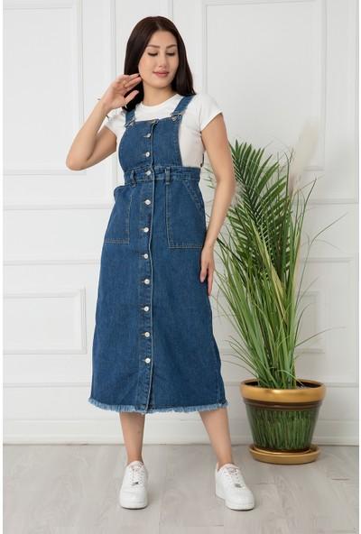 Kalopya Kadın Düğmeli Kot Elbise SMNR03