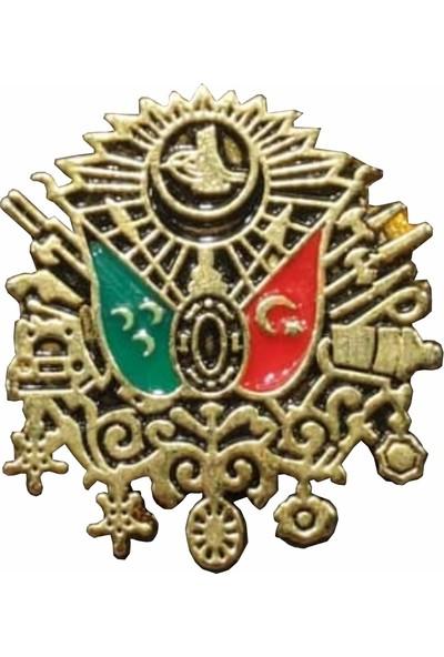 Seyhan Osmanlı Devlet Arması Yaka Rozeti Altın Kaplama