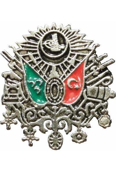 Seyhan Osmanlı Devlet Arması Yaka Rozeti Gümüş Kaplama