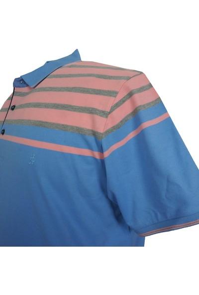 Rugatchi Erkek Büyük Beden Polo Yaka Tişört Mavi-Pembe