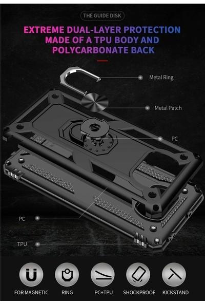 Semers Xiaomi Poco X3 Nfc Kılıf Mıknatıslı Yüzüklü Zırh Tank Kamera Korumalı Kılıf Kapak