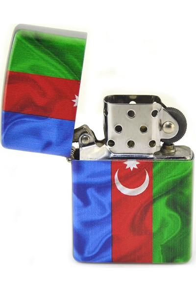 Anahtarlık Sepeti Azerbaycan Bayrak Baskılı Çakmak (Krom)