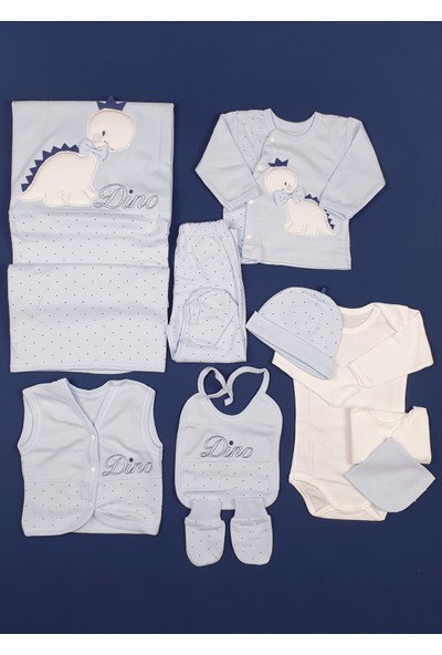 Gaye Papyonlu Dinozor Erkek Bebek Mavi Hastane Çıkışı 10LU Set