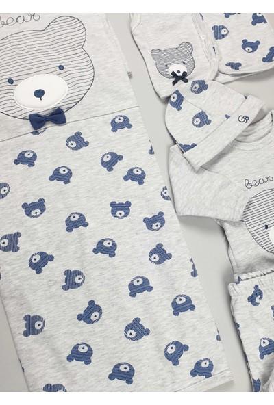 Çizgili Ayıcık Gri Erkek Bebek Hastane Çıkışı 10LU Set